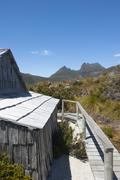 Historic Hut at Cradle Mountain Tasmania - stock photo