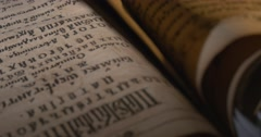 Man in White Gloves is Leafing Through The Old Book, Script, Letters Closeup, Stock Footage