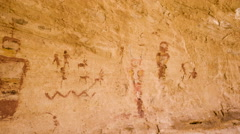 Native American Pictographs Ancient Alien Figures UFO Space Suit Man Stock Footage
