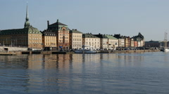 In the morning at Gamla stan old town in Stockholm Sweden Stock Footage