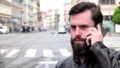 Young handsome hipster man phone with smartphone - city - urban street with cars Stock Footage