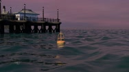 Stock Video Footage of Sunset Ocean Pier And Lighthouse