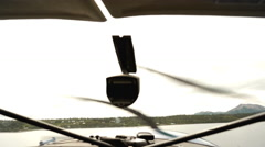 Inside a Prop Plane Flying over Water Stock Footage