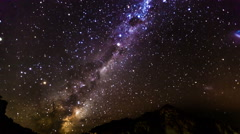 The Milky Way and some trees. In the mountains of new zealand Stock Footage