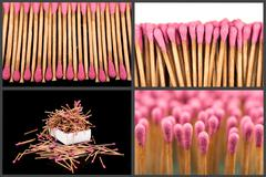 Set of whole and burnt matches at different stages - stock photo