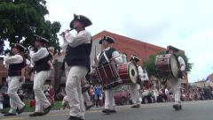Fife and Drum Corps in Parade, low angle Stock Footage