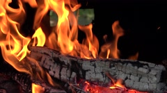 ULTRA HD 4K real time shot, Close up of flames burning wood. Stock Footage