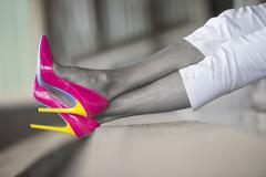 Concept image high heel shoes woman legs filtered - stock photo
