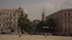 Sofia Square in Kiev, Old Multi Storeyed Houses, Towers, Square, Cloudy Sky Stock Footage