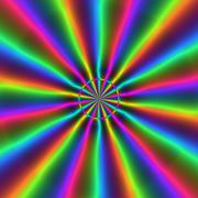 Colorful rainbow rays or discharge in circular pattern Stock Illustration