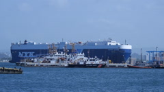 CAR CARGO CARRIER SHIP behind US Coast Guard Station Stock Footage