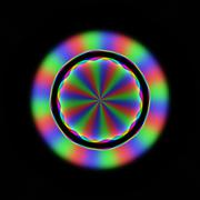 Colorful blurry rainbow rays in circular floral pattern - stock illustration
