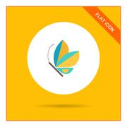 Blue butterfly icon - stock illustration
