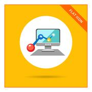 Computer monitor with line graph - stock illustration