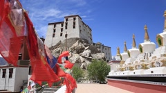 Colorful Buddhist prayer flags at temple in Leh, Ladakh, India Stock Footage