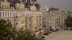 Olg Houses, Sofia Square, Tracking Right, Exterior of Sophia Cathedral in Kiev, Stock Footage