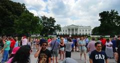 Exterior Establishing Shot Tourists Visit White House in Washington D.C. Stock Footage
