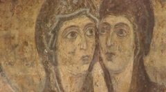 Mosaic of Two Women, Heads are Close, Picture, Image on the Wall, Interior of Stock Footage
