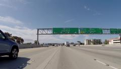 Overhead Sign on the San Diego 405 Freeway South towards Long Beach  Stock Footage