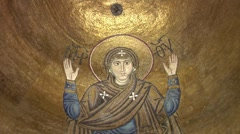 "Image of Orans under the Cupola, Mosaic ""Orans"", Orans with Her Hands Up, Stock Footage"