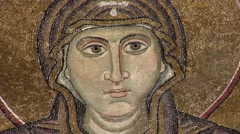 "Mosaic ""Orans"" Closeup, Orans' Face, Glaze, Smalt, Interior of Sophia Cathedral Stock Footage"