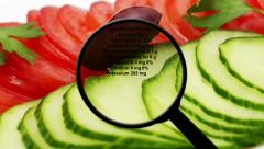 Nutrition facts on tomato and cucumber Stock Footage