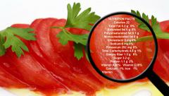Nutrition facts on tomato Stock Footage
