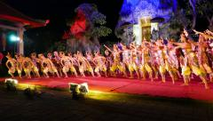 Night performance, colorful costumes and open-air scene at Puri Kantor Stock Footage