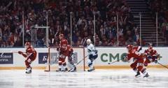 "YAROSLAVL, RUSSIA - MARCH 3: Plattready to make a snapshot KHL match ""Lokomotiv Stock Footage"