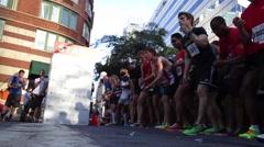 Start of running race in Manhattan Stock Footage