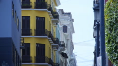 OLD COLONIAL ERA BUILDINGS in Old San Juan Stock Footage