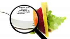 Nutrition facts on vegetables Stock Footage