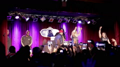 Crowd cheering for Salt N Pepa at live hip hop rap show in NYC Stock Footage