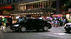 People, tourists, New Yorkers, and Spongebob Squarepants crossing street 42nd st Stock Footage