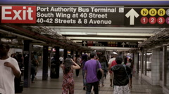 people meeting in subway station at 42nd street at Port Authority stop in NYC - stock footage