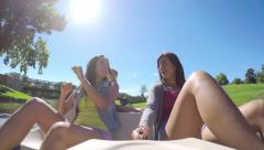 Teens Ride Pedal Boat, Girl Pretends To Use A Paddle, She Is Tired Of Pedaling Stock Footage