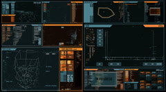 Futuristic command center interface (loop ready) - stock footage