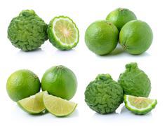 Bergamot fruit and lime on a white background - stock photo