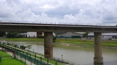 Singapore mass rapid train (MRT) travels on the track. - stock footage