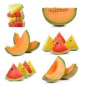 Cantaloupe melon and water melon isolated on white background Stock Photos