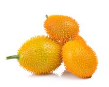 Baby Jackfruit, Spiny Bitter Gourd, Sweet Grourd or Cochinchin Gourd on white Stock Photos