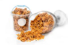 Corn Flake Caramel cereal in glass Stock Photos