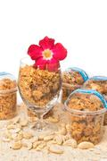 Corn Flake Caramel cereal in glass - stock photo