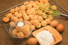choux cream on the baking - stock photo