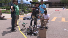 Stock Video Footage of College university students autonomous robotics competition and races