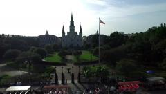 Aerial view of French Quarter from Decatur to Jackson Square Stock Footage