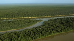 Flying over the river and islands Stock Footage