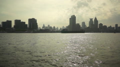 taking ferryboat sailing on Huangpu river - stock footage