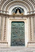 Gate of Orvieto Cathedral, Italy - stock photo