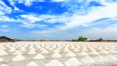 Heap of sea salt in salt farm ready for harvest, Thailand - stock footage